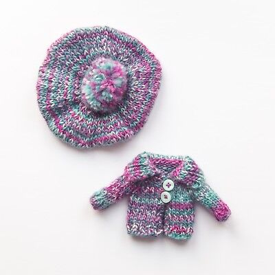Blythe knitted cardigan + pompom beret in purple/blue