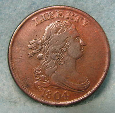 1804 Crosslet 4 Stems Draped Bust Half Cent XF+ * Circulated US Coin *
