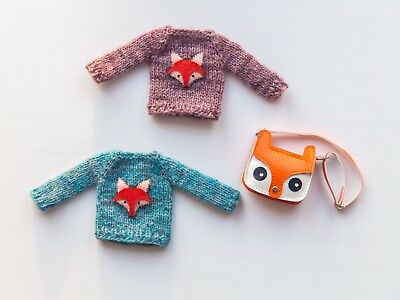 Blythe knitted jumpers x2 with fox appliqué by DollySunday + squirrel bag