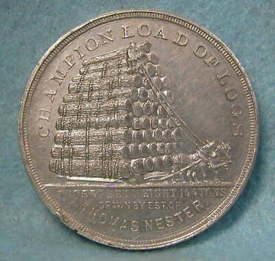 1893 Columbian Expo Champion Load Of Logs Medal AU-Uncirculated