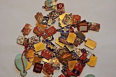 19Th Century Vintage French Coat Of Arms Charms, Lot Of 69 W/original Tags/ Box.