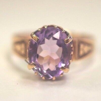 Antique 14K Rose Gold Amethyst Ring