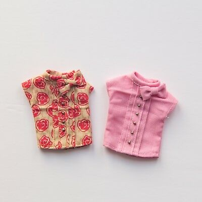 Blythe bow shirts x2 in pink + red/beige by Petit BonBon