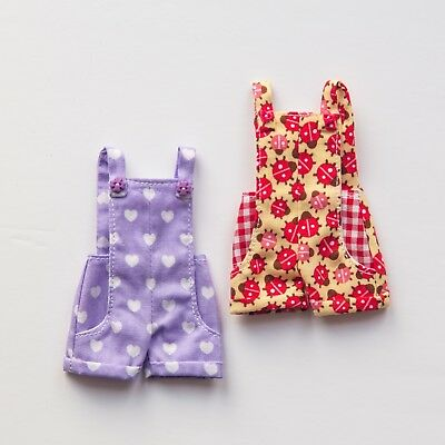Blythe dungaree shorts x2 by Lila Marine in purple hearts + red ladybugs