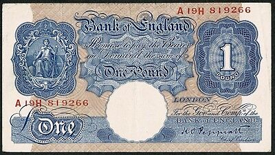 B249 * £1 * Bank of England * Peppiatt * A19H Prefix * BLUE WARTIME ISSUE * NVF