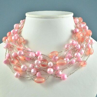 Vintage Necklace 1960s Multi Strand Pink Faux Pearl Lucite & Crystal Jewellery