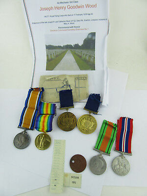 WW1 Royal Flying Corps Casualty Medals, Plus Sons School & WW2 Medals, Paperwork