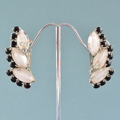 Vintage Earrings JULIANA Large 1960s White Givre Glass Silvertone Jewellery