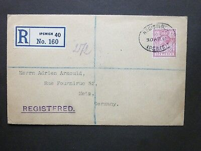 Suffolk 1914 KGV 6d Registered Envelope REGISTERED IPSWICH oval to Metz Germany
