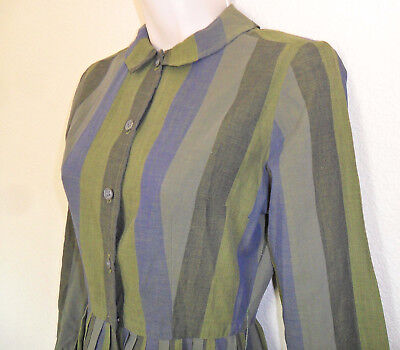 Vtg 40s 50s Olive Navy Pleated Stripe Button Down Day Dress Rockabilly Swing Sm
