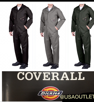 DICKIES COVERALL MEN'S LONG SLEEVE  Mechanic Coverall 48799 BLACK NAVY GREY OLIV