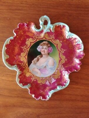 Antique Royal Saxe ES Germany Portrait Tray Leaf Dish Red & Gold