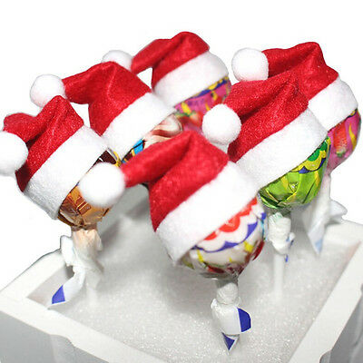6-60x  Mini Santa Hat Lollipop Cover Wraps Tops Toppers Christmas Decors Hot sa