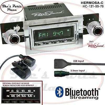 Black Face and Buttons and Black Bezel RetroSound HB-221-05-75 Hermosa Direct-Fit Radio for Classic Vehicle