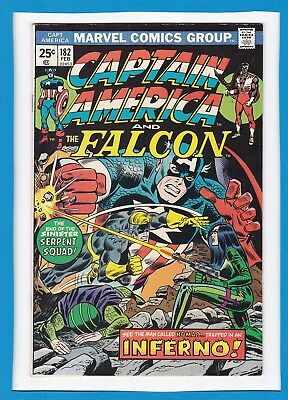 "Captain America & The Falcon #182_Feb 1975_Very Fine_""trapped In An Inferno""!"