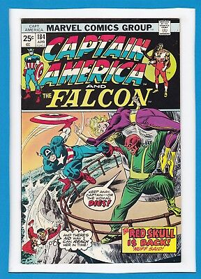 "Captain America & The Falcon #184_April 1975_Very Fine_""the Red Skull Is Back""!"