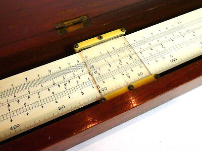 c1900, FINE QUALITY ANTIQUE MAHOGANY CASED ENGLISH WOOD SLIDE RULE, 20 INCH