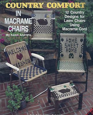 Vintage Country Comfort In Macrame Chairs Booklet 12 Designs Patio, Lawn, Stools