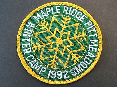 Boy Scouts Canada 1992 Winter Camp Maple Ridge Pitt Meadows Embroidered  Patch