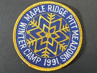Boy Scouts Canada 1991 Winter Camp Maple Ridge Pitt Meadows Embroidered  Patch