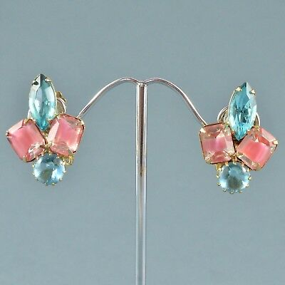 Vintage Earrings 1960s Pink Givre Glass & Blue Crystal Goldtone Jewellery