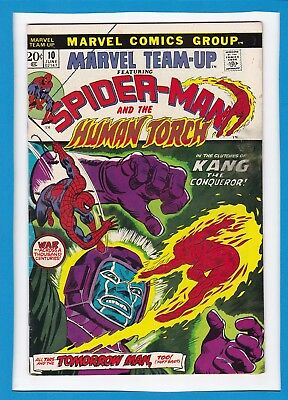 Marvel Team-Up #10_Jun 1973_Fine Minus_Spider-Man_Human Torch_Kang The Conqueror