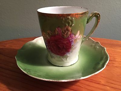 Chocolate Cup and Saucer Green With Red Rose