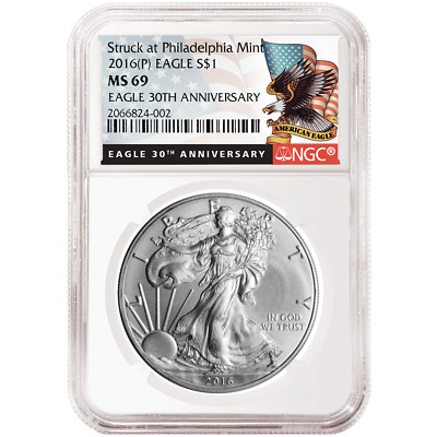 2016 (P) $1 American Silver Eagle NGC MS69 Black Label