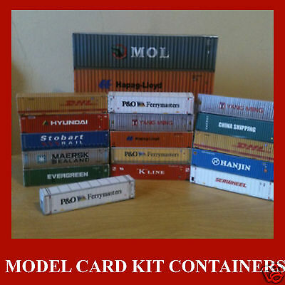 Shipping Containers Z Scale 1:220 Model Card Kits Mixed Set x 12 @ 20/40/45ft