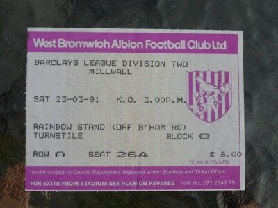 West Brom v Millwall 23.03.91 - used ticket