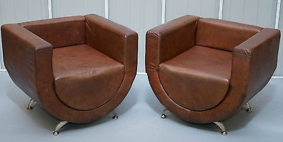 Pair Of Vintage Aged Brown Leather Contemporary Art Decor Tub Club Armchairs