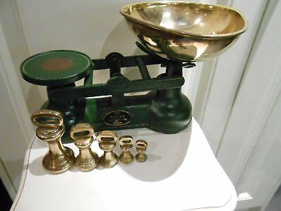 Traditional Salter Staffordshire Kitchen Balance Scales - Brass Bell Weights