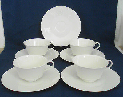KPM Royal Berlin Arcadia (4) Footed Cups & (5) Saucers