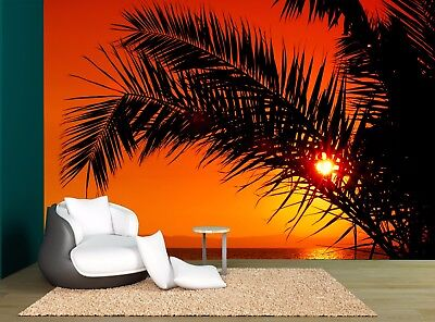 Palm Tree During Sun Set Orange Wall Mural Photo Wallpaper GIANT WALL DECOR