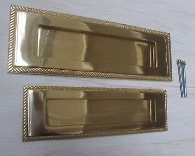 Heavy Sprung Solid Brass Large Letter Box Postal Plate Cover Georgian