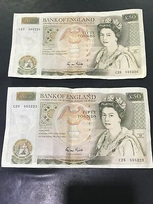 Lot of 2 Great Britain Bank of England 50 Pounds Consecutive Serial Numbers