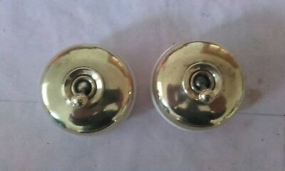 Vintage Crabtree Brass And Ceramic Light Switches