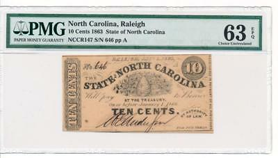 Obsolete State of North Carolina Raleigh 10 cents 1863 Cr NC-147 PMG 63 EPQ