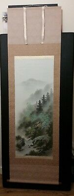 Antique Japanese Handpainted Silk Hanging Scroll