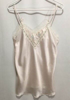 Christian Dior Vintage Cami Camisole Pink Pin Striped Lace New York Paris Silk