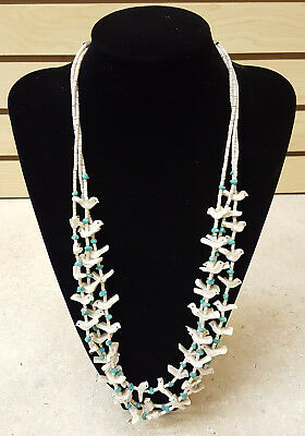 Nice Great Cond.handcrafted 3 Strand Bird Fetish Native American Indian Necklace