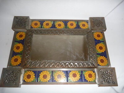 Vintage Mexican Tin Mirror with Sunflowers on Tiles