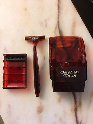 Gently used Schick Personal Touch Razor & HOLDER + 1 New Razor Refill Blade MINT