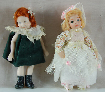 Vintage Dolls House Figures - Two Small Girls - Green Dress/White Dress