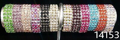 NEW Kids #14153 3 row Rhinestone Stretch Fashion Bracelet Bangle WEDDING PAGEANT