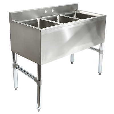 OPEN BOX - Three 3 Compartment Stainless Steel Commercial Kitchen Sink