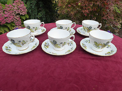 6 Queen Anne Leaves And Berries Cups And Saucers