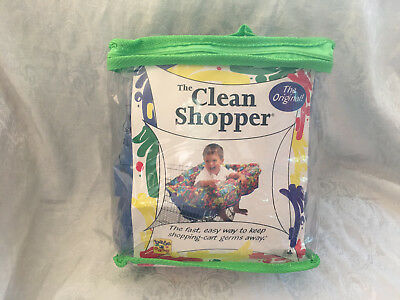 New CLEAN SHOPPER Baby Infant Grocery Shopping Cart Buggy Seat Blue Fabric Cover