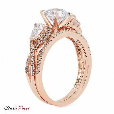 2.10 Carat Round Cut Halo Engagement Ring band set real 14k Rose Gold Bridal