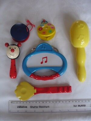 Bundle of 6 Musical Instruments, Rattles, Shaker, Tambourine & Castanets